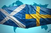 Waving Scottish and Swedish flags — Stock Photo