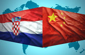 Waving Croatian and Chinese flags — Stock Photo