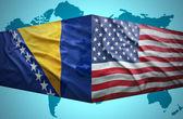 Waving Bosnian and American flags — Stockfoto