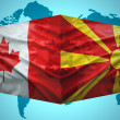 Постер, плакат: Waving Macedonian and Canadian flags
