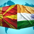 Постер, плакат: Waving Macedonian and Indian flags