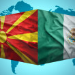 Постер, плакат: Waving Macedonian and Mexican flags
