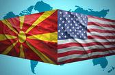 Waving Macedonian and American flags — Stock Photo