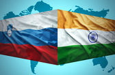Waving Slovenian and Indian flags — Stock Photo