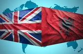 Waving Albanian and British flags — Stok fotoğraf