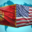 Waving Montenegrin and American flags — Stock Photo #51664665