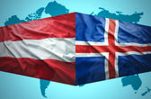 Waving Icelandic and Austrian flags — Stock Photo
