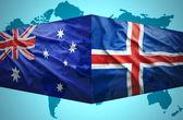 Waving Icelandic and Australian flags — Stock Photo