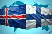 Waving Icelandic and Finnish flags — Stock Photo