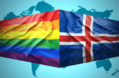 Waving Icelandic and Gay flags — Stock Photo