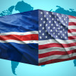 Waving Icelandic and American flags — Stock Photo #51683071