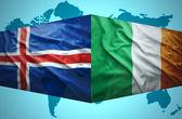 Waving Icelandic and Irish flags — Stock Photo
