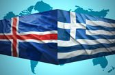 Waving Icelandic and Greek flags — Stock Photo
