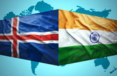 Waving Icelandic and Indian flags — Stock Photo