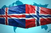 Waving Icelandic and Norwegian flags — Stock Photo