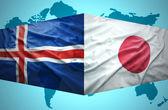 Waving Icelandic and Japanese flags — Stock Photo
