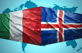İzlanda ve İtalyan bayraklar sallayarak — Stok fotoğraf