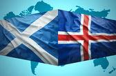 Waving Icelandic and Scottish flags — Stock Photo