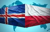 Waving Icelandic and Polish flags — Stock Photo