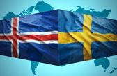 Waving Icelandic and Swedish flags — Stock Photo