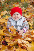 Little cute baby girl on a background of autumn leaves — Stock Photo