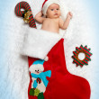 Little newborn  St. Nicholas in New Year — Stock Photo