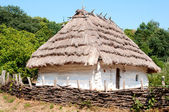 Traditional Ukrainian house with a thatched roof. — Foto Stock