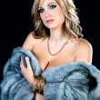 Beautiful Woman in Luxury Fur Coat. — Stock Photo