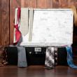 Vintage suitcase with tie, against wooden wall. — Stock Photo #21011665