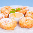 Mouthwatering donuts sprinkle with powdered sugar sweet syrup on — Stock Photo #21451099