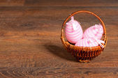 Basket with ornamental eggs for background boards. — Stock Photo
