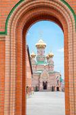 Kiev Holy Protection Holosiivska desert. Ukrainian Orthodox Church. — Stock Photo