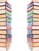 Multicolored books stack isolated on white background. — Stock Photo