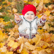 Stock Photo: Little cute baby girl on background of autumn leaves