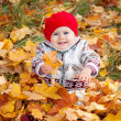 Little cute baby girl on a background of autumn leaves — Foto de Stock