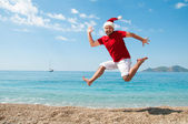 Merry Christmas and the new year on the beach. — Stock Photo