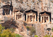 Ancient Lycian tombs - architecture in mountains of Turkey — Stock Photo