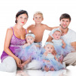 Big happy family: mother, father, triplets daughter and son — Stock Photo