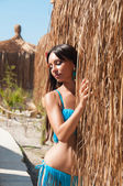 Sexy brown haired girl in a bikini near  thatched bungalow — Stock Photo