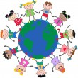 Mixed ethnic children around the world — Stock Vector