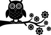 Ramo de flores de coruja negra — Vetorial Stock
