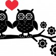 Two owls in love — Stock Vector #12379219