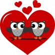 Two owls in love — Stock Vector #12427397