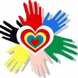 Love peace diversity hands heart — Stock Vector
