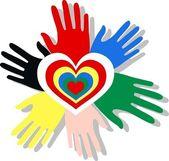 Love peace diversity hands heart — Stock Vector