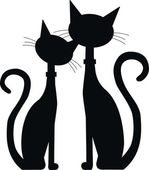 Silhouette of two black cats — Wektor stockowy
