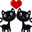 Stock Vector: Two sweet cats in love