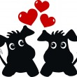 Two sweet dogs in love — Imagen vectorial
