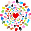 Stock Vector: Peace love diversity hands