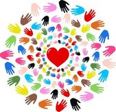 Peace love diversity hands — Stock Vector